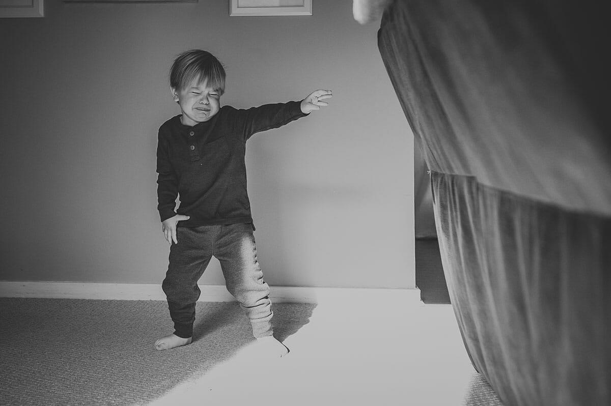 Boy upset and throwing tantrum